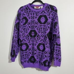Vintage Purple and Black Oversize Winter Sweater Size M